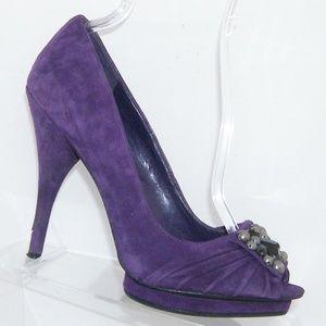 BCBGeneration Dante purple suede studded heels 9B